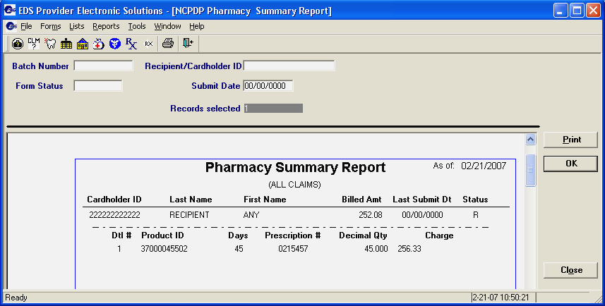 Step 5. Use the scroll bars (located on the right side and bottom of the screen) to view the entire report. Step 6. Click to print the NCPDP Pharmacy Summary Report. Step 7.