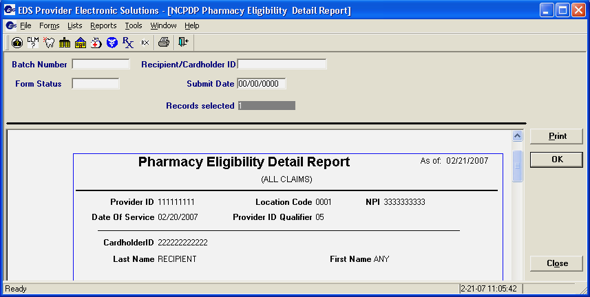 Batch Number Recipient ID Form Status Submit Date Limits the summary report to Pharmacy Eligibility Inquires in a specific batch. Enter the appropriate batch ID number in this field.