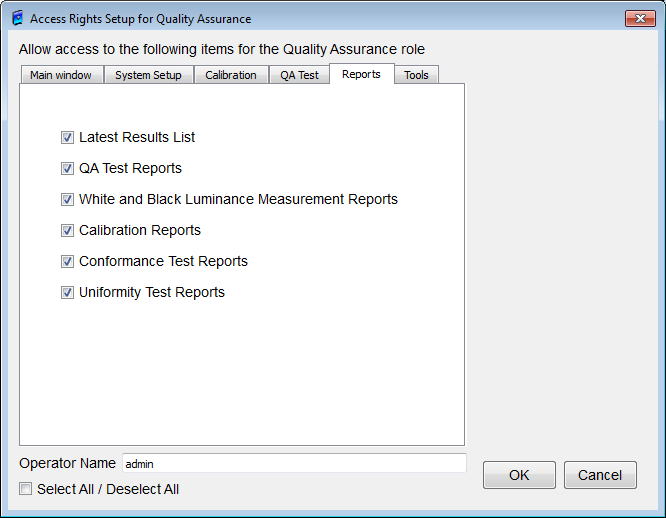 QA Test tab (Figure 106) Figure 106: Access Rights Setup for Quality Assurance dialog box (QA Test) Allows or prevents access of a Technician Mode User to the following on the Quality Assurance - QA