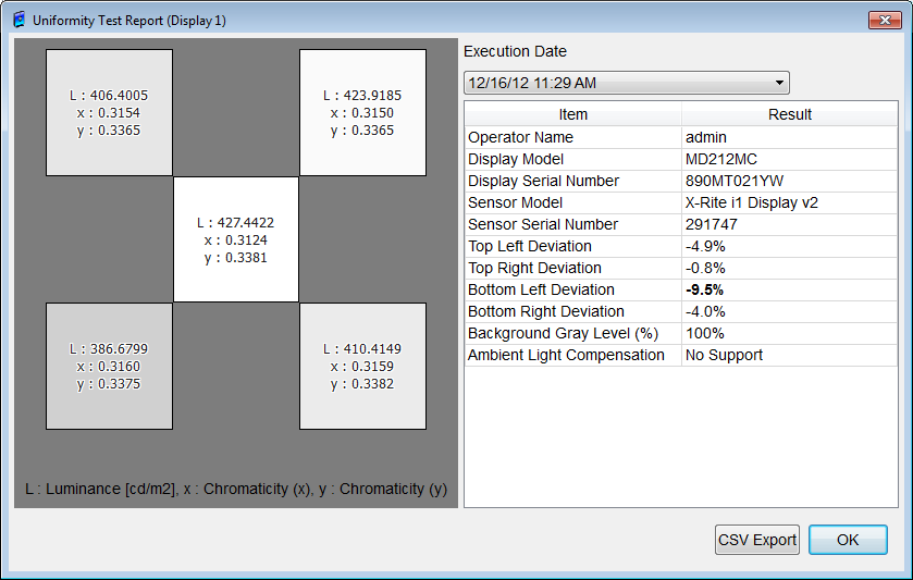 Figure 128: Uniformity Test Reports dialog box Display Selection Check the box above a display to select the display. Multiple displays can be selected. Cancel button Closes the dialog box.