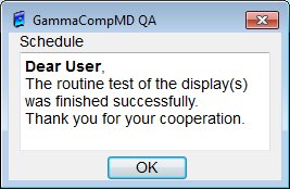 9. Alert and Warning Popup Windows GammaCompMD QA Client displays popup windows with alerts, warnings and information on schedules actions.