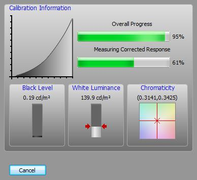 Figure 31: Status screen on target display calibration Once calibration is completed, the Calibration Report dialog box is shown on each target display, as shown in Figure