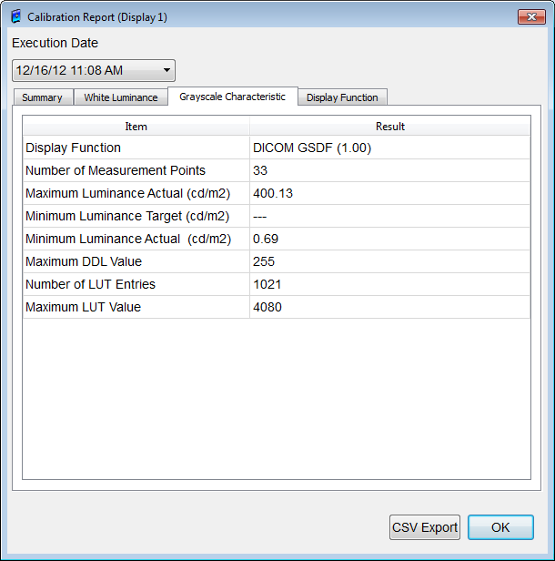 Figure 35: Calibration Report: White Luminance dialog box Grayscale Characteristic (tab) The list contains the following items: Display Function, Number tab of Measurement Points, Maximum Luminance