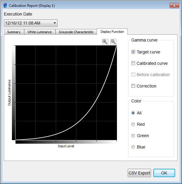 Display Function(tab) Reports luminance characteristics measured in graph form. Gamma curves can be shown or hidden by checking or un-checking the boxes.
