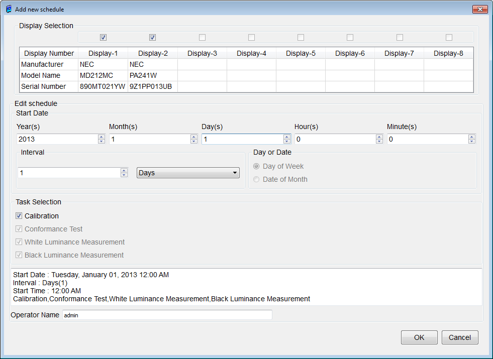 Figure 38: Schedule Setup dialog box Schedule List (Time Table) If the list box under Execution Date is clicked, the latest report will be displayed at the top, with previous reports underneath in