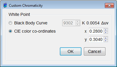 Figure 42: Custom Chromaticity dialog box Chromaticity Tolerance Limits +/- (x,y) Define the calibration chromaticity (x, y) tolerance limits.