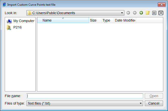 When the Import button is clicked, the Import Custom Curve Points Text File dialog box, as shown in Figure 45, is displayed.