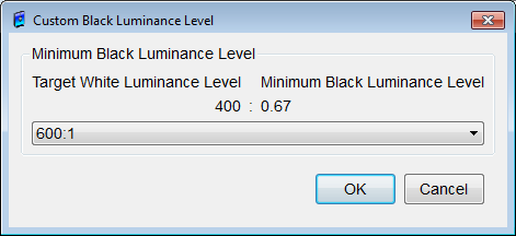 Figure 46: Calibration Setup Minimum Black Level dialog box Calculate from Contrast Ratio button Displays the Custom Black