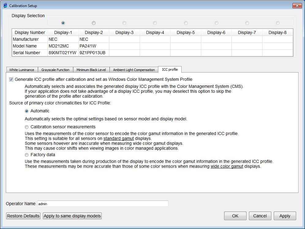 Figure 52: Calibration Setup - ICC profile dialog box Generate ICC profile after calibration and set as Windows Color Management System Profile If this checkbox is checked, an ICC profile will be