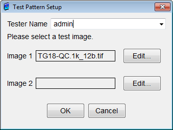 Figure 81: Show Test Pattern dialog Clicking View button right of each Image opens a full screen test pattern with the filename entered in the image file field.