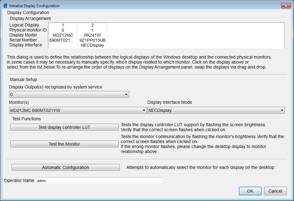 7.6. Administrator Figure 84: Administrator screen 7.6.1. System Setup 7.6.1.1. Re-initialization Display Configuration In Figure 85, the Initialize Display Configuration dialog box is displayed.
