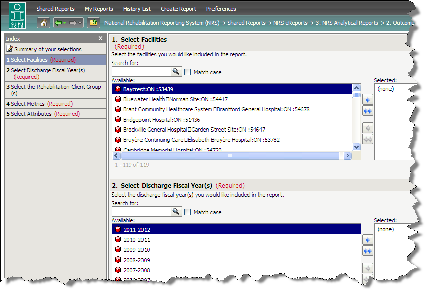 From July 2009: Secure, interactive web-based reporting > New interactive NRS ereports Microstrategy;