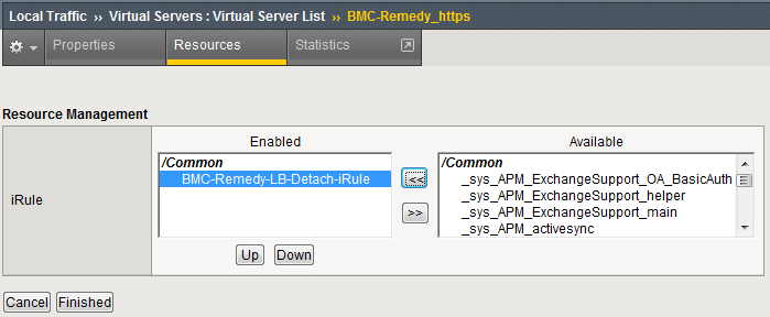 Performance tuning and recommendations Click Resources Click Manage Select BMC irule Click Finished BMC Remedy AR System server settings Table 21 summarizes the configuration settings used for BMC