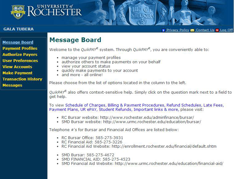 Do It Yourself UR epay By Long Vu, Assistant Director UR epay is the University of Rochester s online billing system.