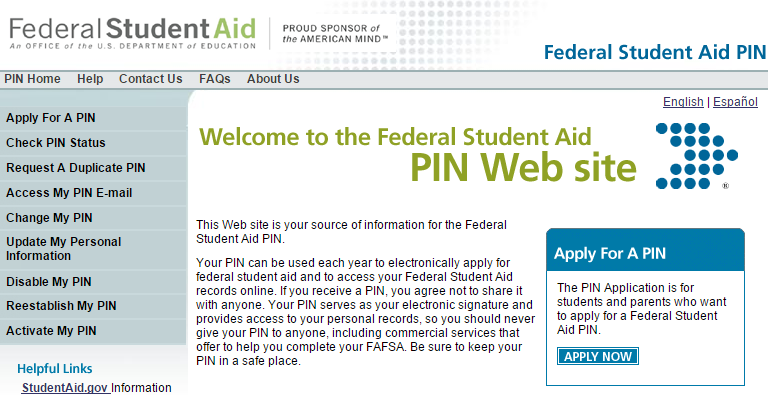 First Step: Register for a PIN Website: www.pin.ed.gov Serves as an electronic signature (do not share!