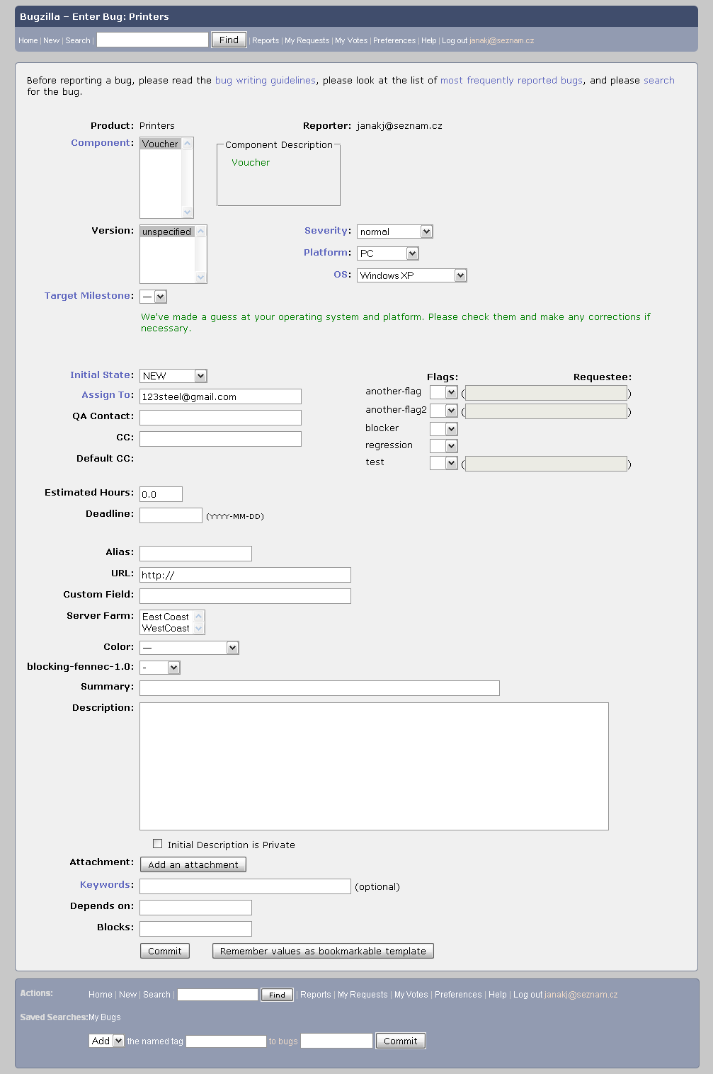Screen shot 3: Bugzilla use-case - New bug report