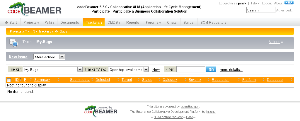 Screen shot 9: CodeBeamer use-case - Project trackers dashboard (select tracking