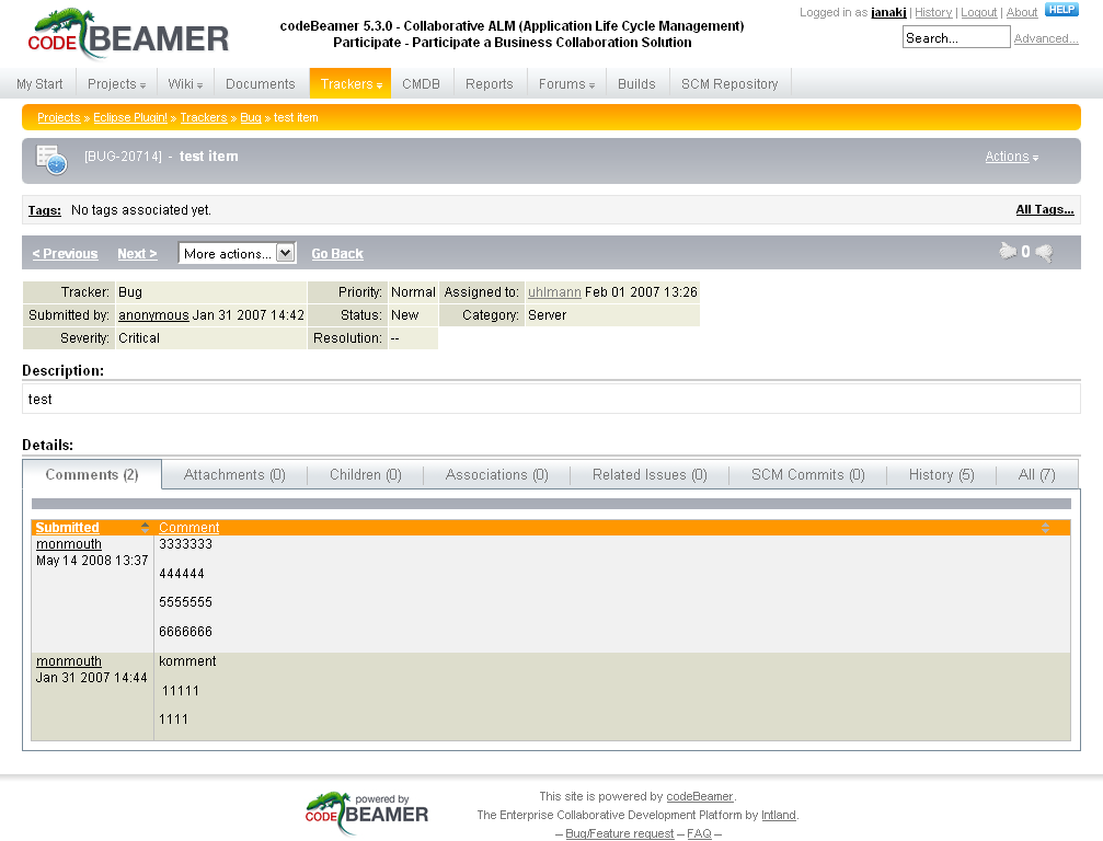 Screen shot 11: CodeBeamer use-case - Add new issue details Screen shot 12: