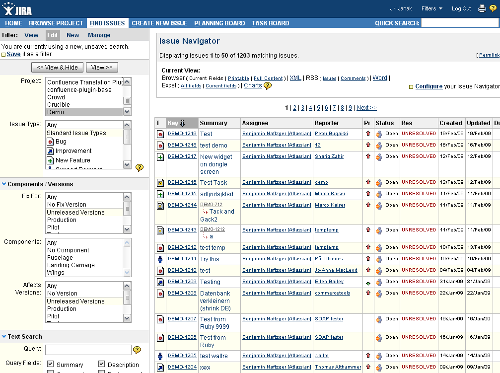 Screen shot 29: JIRA use-case Issue navigator (list of issues) Screen shot 30: