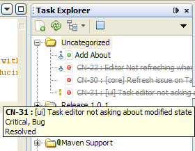 Screen shot 56: Cube n - Task Query Result View From here, the user can open and start editing the task. 3. Task Explorer Task Explorer is another view for currently opened tasks.