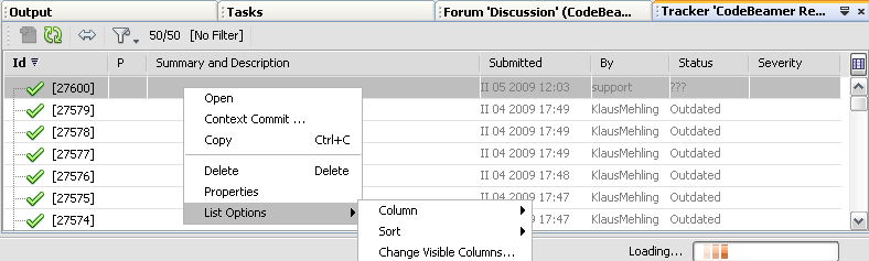 Screen shot 61: CodeBeamer ALM plug-in - Project Explorer 2.