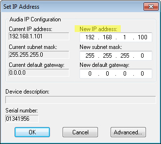 ASSIGNING DIFFERENT IP ADDRESSES All AudiaVOIP units ship from the factory with an assigned IP address of 192.168.1.101.