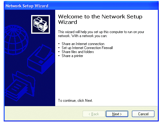 Networking Basics Using the Network Setup Wizard in Windows XP In this section you will learn how to establish a network at home or work, using Microsoft Windows XP.