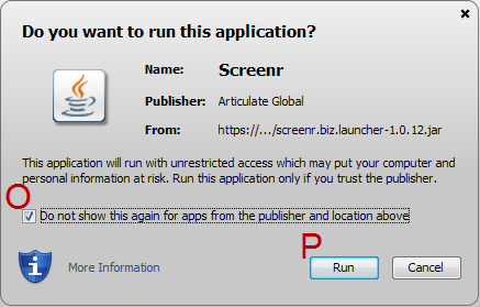 12) At this point, you may receive two warnings. The first warning will ask if you want to run this application.
