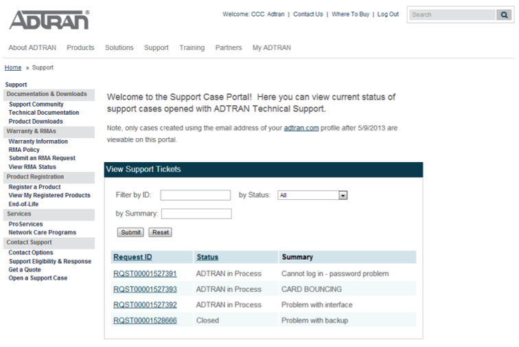 5.0 Remedy Web-portal The ADTRAN support case portal allows customers to review their Software support cases individually.