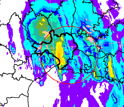 Figure 5 Accumulated rainfall over three hours during the Cévenol flood event of 6 September 2005.