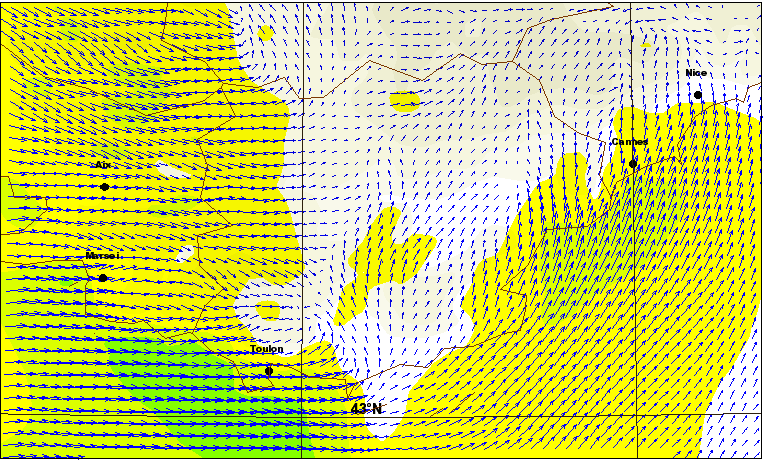 Figure 6 Arome simulation of low-level temperatures (coloured, frost areas in white) and wind (blue arrows) over north-eastern France on 10 February 2006.