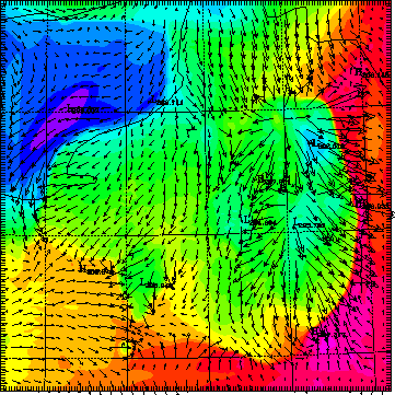 Figure 8 Arome simulation of a group of thunderstorms in the Paris area on 4 August 1994 at 18:00.