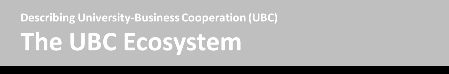 The UBC ecosystem is a model for understanding the important elements affecting University-Business Cooperation (UBC) Model created by Todd Davey, Victoria Galan Muros, Arno Meerman.