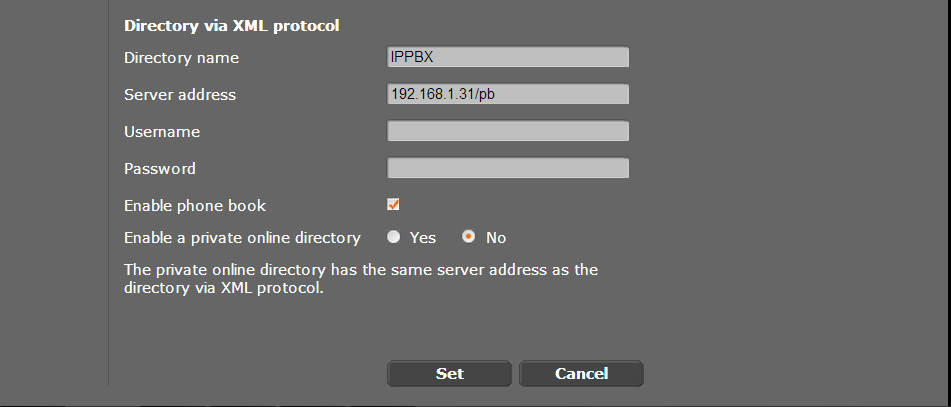 9 Configure the controller to allow access to system phone menus - Click on Info Services - Check the box named via PBX Manager - Under the Settings for PBX Manager, set the server address to [Opera