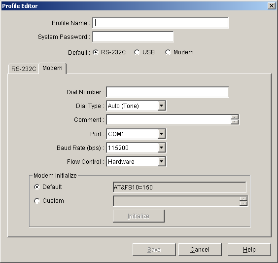 6.4 Profile Editor The parameters are as follows: Parameter Values Explanation Port COMx Specify the number of the COM port assigned to the PC's RS-232C interface.