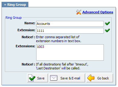 Extensions Delete ring group from the system Example: Click to delete a ring group from the system Field Type: Button 4.3.