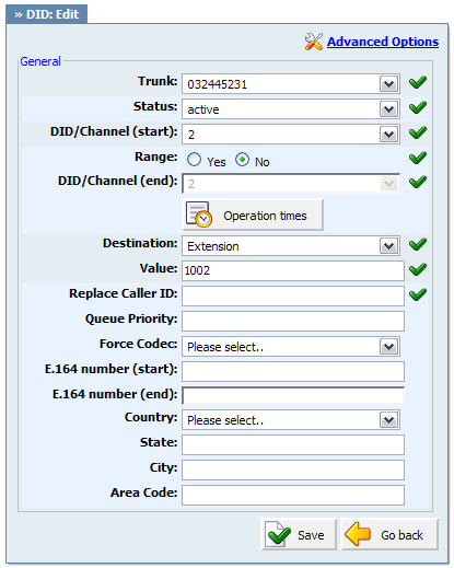 154 PBXware System Administration Manual Example: If 'Destination'='Extension', set the extension number here(e.g. 1002).