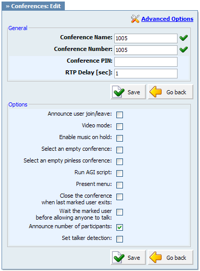 Conferences Example: This name will be displayed once 'Conferences' menu is selected Field Type: [a-z] [0-9] Conference Number: Unique Conference PBXware number