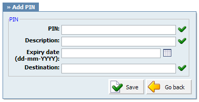 180 PBXware System Administration Manual PIN: Unique IVR PIN number. This PIN number is provided once requested by IVR. Correctly supplied PIN will make PBXware dial the 'Destination' number.