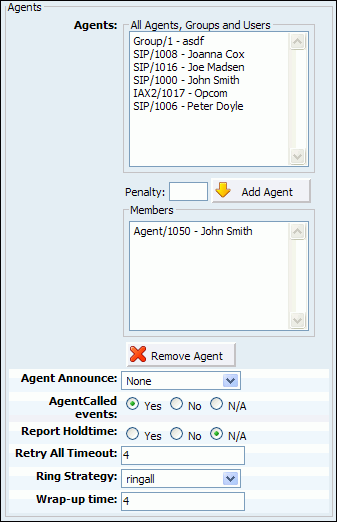 Queues 9.1.3.5 195 Agents Agent Announce: Play a custom message to a queue agent before they answer the call. NOTE: File name has to be in the following format 'agent-announce-$name.gsm'.