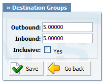316 PBXware System Administration Manual Outbound: Destination group outbound charge Example: If you have edit the 'Mobile' destination