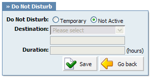 332 PBXware System Administration Manual Destination: 20.2.4.5 Do Not Disturb This service temporarily redirects all incoming calls to set destination number.