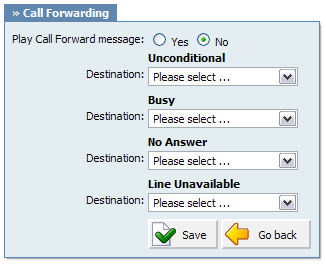 Self Care 333 20.2.4.6 Call Forwarding This service forwards calls to other extensions depending on extension response/status.