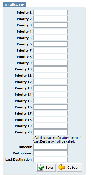 Self Care 335 Priority *: Local/Proper/Mobile numbers to be dialed Example: Enabling this option for extension 1005 and setting 'Priority 1' is set to '1008'
