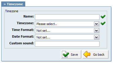 470 PBXware System Administration Manual 21.8.6.1.1 Add/Edit Timezone Name: Unique timezone name Example: Name provided here will be visible when setting correct voicemail timezone.