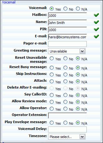 62 PBXware System Administration Manual Voicemail: Enable the voicemail service Example: Enabling this option will create extension voicemail box Field Type: Option buttons