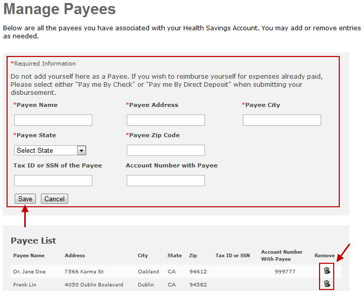 MANAGE PAYEES You can add a payee or