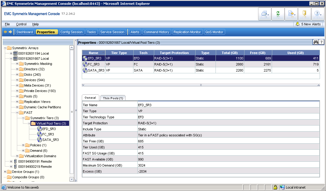Figure 6. Defining FAST VP storage tiers within Symmetrix Management Console The storage tiers were applied to create a policy named SQLPRD_POLICY.
