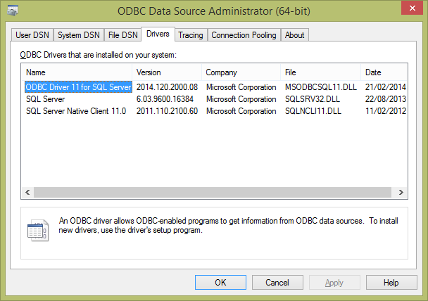 Figure 1 ODBC Data Source Administrator The driver name should be entered into HammerDB (as detailed further in this document) exactly as shown in the Data Source Administrator.