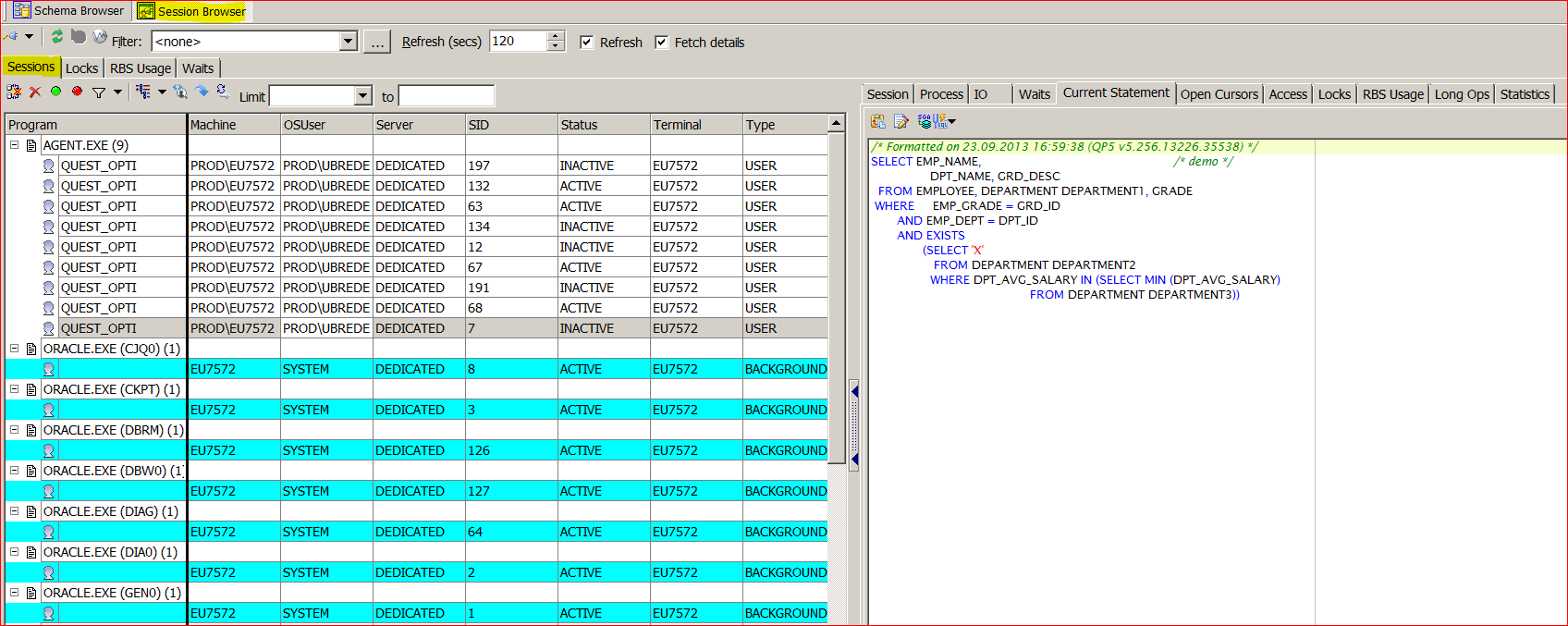 has also a Session Browser and shows the sessions on your MS SQL Server